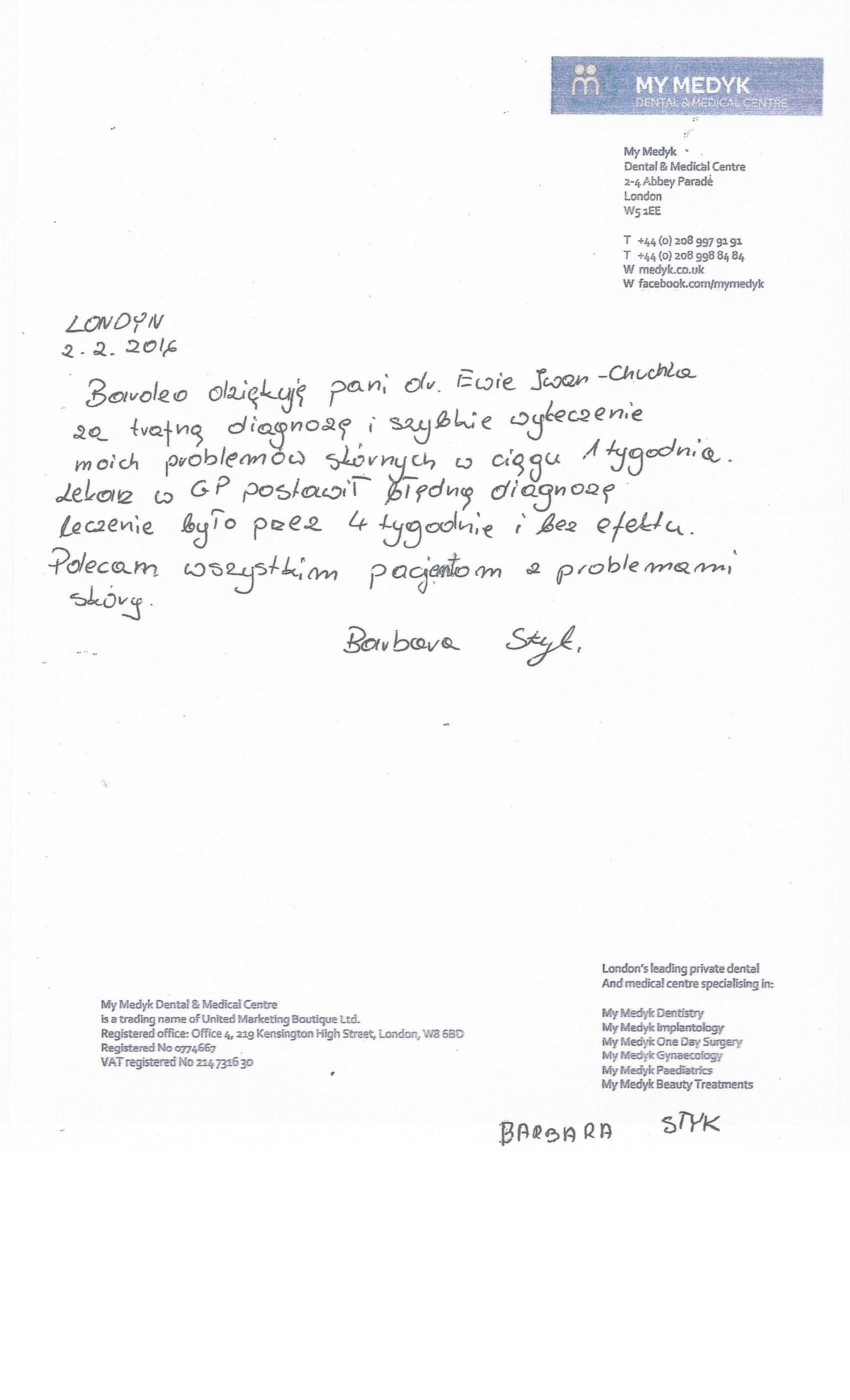 rekomendacje EWA IWAN-CHUCHLA MyMedyk